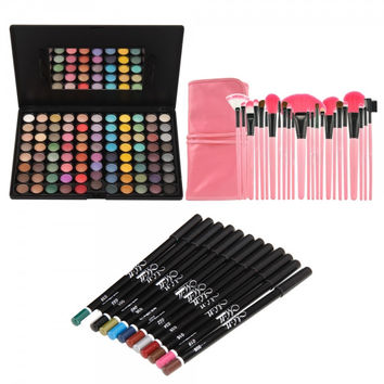88 Color Eyeshadow Palette + 24pcs Cosmetic Makeup Brush Set + 12 Colors Eyeliner Eye Shadow Pen