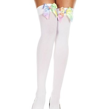 Satin Bow Opaque Stocking Thigh High