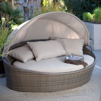 Creative Living Moorea All-Weather Wicker Cabana Day Bed with Canopy - Outdoor Chaise Lounges at Hayneedle