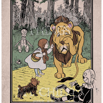 Wizard of OZ - Vintage Book Page Reproduction - Cowardly Lion, Dorothy - 8x10 Book Page