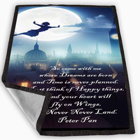 Peter Pan Inspired Quote Flying Moonlight Blanket for Kids Blanket, Fleece Blanket Cute and Awesome Blanket for your bedding, Blanket fleece *