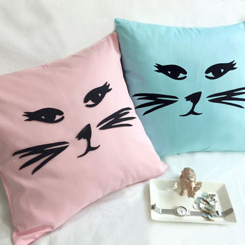 Pick Your Color. Cat Face Decorative Pillow Cover Pink Cat Light Blue Cat Cushion Cover. Cat Pillow Case