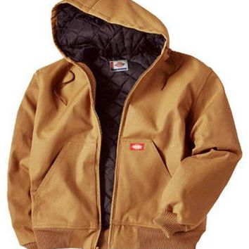 Dickies TJ718BDXL Men's Rigid Duck Hooded Jacket, Extra Large, Brown