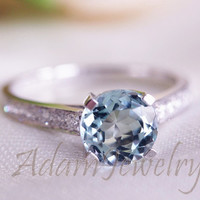 Round Cut  7mm VS Aquamarine Ring Solid 14K White Gold Pave Diamonds Engagement Ring/  Wedding Ring/ Promise Ring/ Anniversary Ring