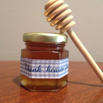 Thank Heaven for little boys! Mini Honey Jars Favors, Baby Shower Favor,Tea Party,Bris Favor with Dipper
