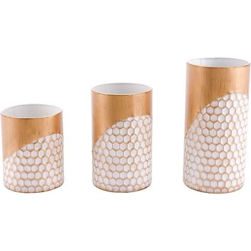 Gold Honeycomb Candle Holders (Set of 3)