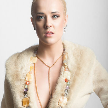 The Estate a Cannes Lariat Necklace - Gemstone Gold Statement Handmade Designer Jewelry