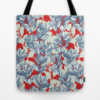 Leaf and Berry Sketch Pattern in Red and Blue Tote Bag by Micklyn | Society6