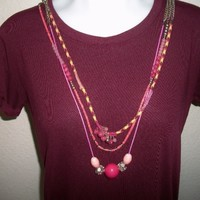 eBlueJay: Pink Beaded Chain Multi Strand Necklace Costume Jewelry Fashion Accessories