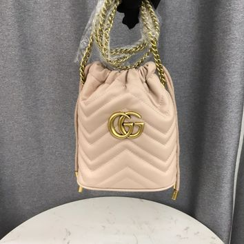 HCXX 1962 Gucci Marmont Fashion Mouth draw string Pen Container Bag Pink