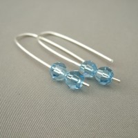 Baby Blue Swarovski Crystal Sterling Silver Modern Contemporary Dangle Earrings | The Silver Forge Handcrafted Jewellery