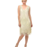 Unique Vintage Ivory Embroidered Somerset Flapper Dress