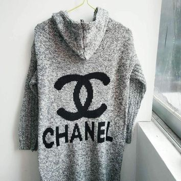 Gotopfashion Chanel Grey Hooded Cardigan Fasion Women Girl Sweater Knit Jacket Coat