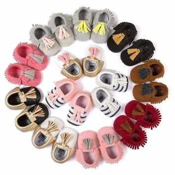 0-18M Baby Boy Girl Crib Shoes Infant Toddler Tassel Soft Leather Shoes Moccasin