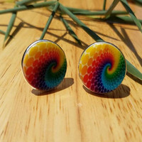 Rainbow Cuff Links, Pride Cuff Links, Fathers Day Cufflinks, Hippie Rainbow Cufflinks
