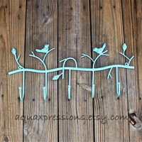 Metal Wall Hook /Aqua Bird/ Shabby Chic Decor /Tree Branch /Ornate Bathroom Hanger /Key Holder /Bedroom /Mud Room Rack /Laundry /Nursery