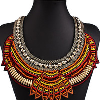 Orange Stud And Bead Embellished Layered Statement Necklace