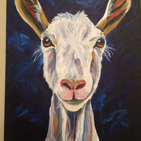 Goat on Canvas Goat art print from original canvas goat painting