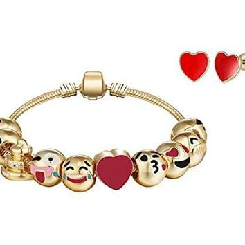 "AUGUAU Emoji Gold Plated Strand Bracelet With Heart Earrings - 10 Enamel Painted Interchangeable Fun Emoji Faces Beads on a 7"" 18k Gold Plated Alloy Bracelet"