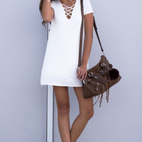 Juliet Lace-Up Tee Dress - White