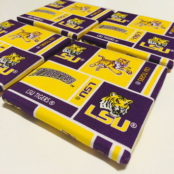 LSU Tigers Coasters - Tile Coasters - LSU - Set of Four