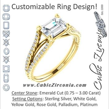 Cubic Zirconia Engagement Ring- The Contessa (Customizable Emerald Cut with Split Euro-Shank Band and Rope-Pavé)