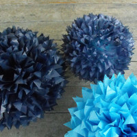 Cape Cod Blues / 3 Poms / Pacific Blue / Navy / Midnight Blue / Beach Wedding / Baby Boy Nursery / Nautical