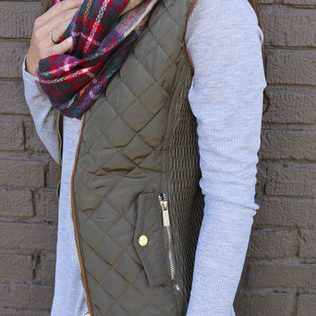 Longwood Gardens Olive Quilted Padded Vest With Pockets