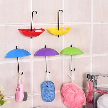 3Pcs/Lot Colorful Umbrella Shaped Creative Hanger Decorative Holder Pasties Wall Hook For Kitchen Bathroom Accessories Set