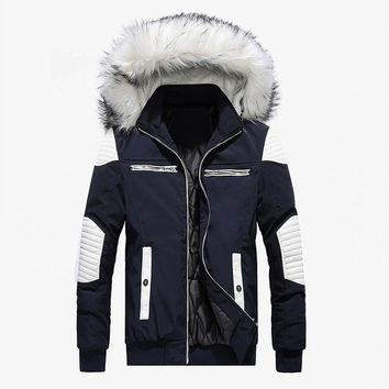 Winter Warm Faux Fur Hoodies Collar Men's Down Jacket Long Coat Thickning Men's Long Coat Outdoor Ski Jacket
