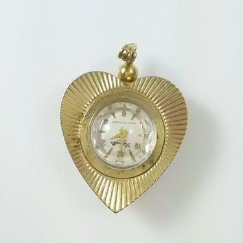 Vintage Rovatto Gold Tone Heart Shaped 17 Jewel Pendant Watch - Works