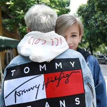 """Tommy Jeans"" Fashion Women Men Personality Denim Cardigan Jacket Lovers Coat I"