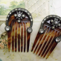 2 Antique Tortoise Shell Hair Combs with Rhinestones - Matching - Celluloid  - Mothers Day Gift - Victorian Style