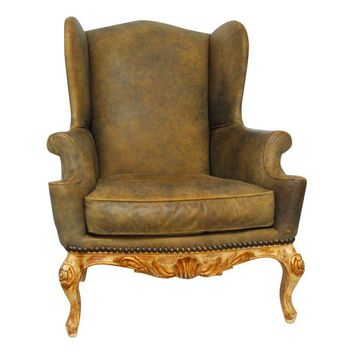 Pre-owned Vintage Cigar Leather Wingback Chair