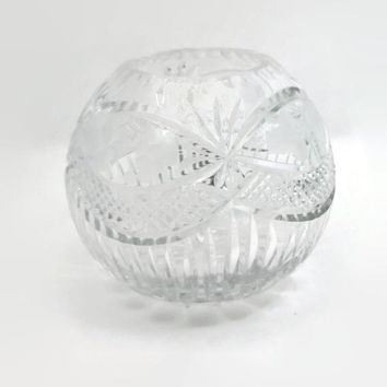 Cut Crystal Rose Vase Vintage Fan Pattern
