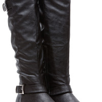Black Faux Leather Buckle Up Calf Length Riding Boots