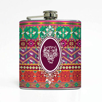 Tiger Native American Designer 6 Oz Liquor Stainless Steel Hip Flask Weddings Groomsmen Bridesmaids Gift Whiskey Flask