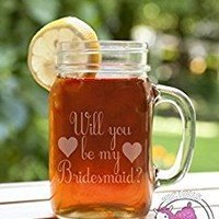 Will You Be My Bridesmaid Etched Glass Mason Jar Mug with Handle Love Forever Birds Always Relationships Wedding Bridal Flower Girl Engaged Propose Maid Matron Married Sister Brides Maid