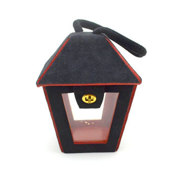 Vintage Black and Red Lantern Shaped Purse, Novelty Purse with Clear Plastic Panels, Black Suede, circa 1950s