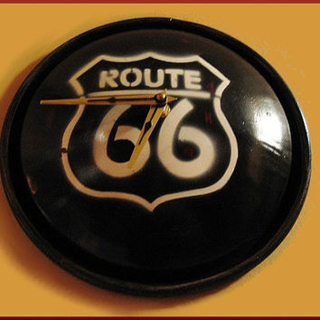 Wall Clock Re-purposed Route 66 Metal Sign HubCap Style - Man Cave Decor