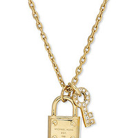 Michael Kors Gold-Tone Padlock and Key Charm Necklace