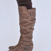 Suede Wedge Boot- Taupe