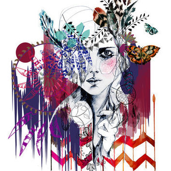 Tribal Girl  Art Print by Holly Sharpe | Society6