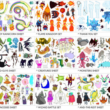 5 Adventure Time Sticker Sheets - PICK YOUR SETS - 27 different themed sheets to choose from, uncut stickers