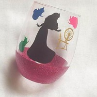 Disney Aurora Wine Glass, Sleeping Beauty Glitter Glass