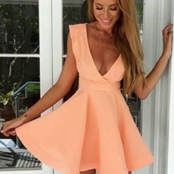 Pink Sleeveless Cross Wrap Low V neck Skater Circle A Line Flare Mini Dress