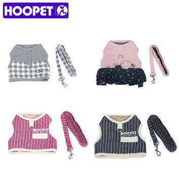 HOOPET Adjustable Small Pet Dog Cat Harness with Leash Square Stripes Cute  Puppy Soft Vest Harness