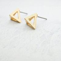 Gold Triangle Earrings Gold stud earrings Geometric earrings Gold post earrings Bridesmaids Gift mom Birthday Gift best friend Birthday