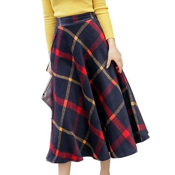 A Line Skirts New Hot Selling Women Fashion Korean Style Design Office Lady Work High Waist Long Red Green Plaid Skirt E0433