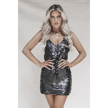 LINE & DOT Black Sequin Dress